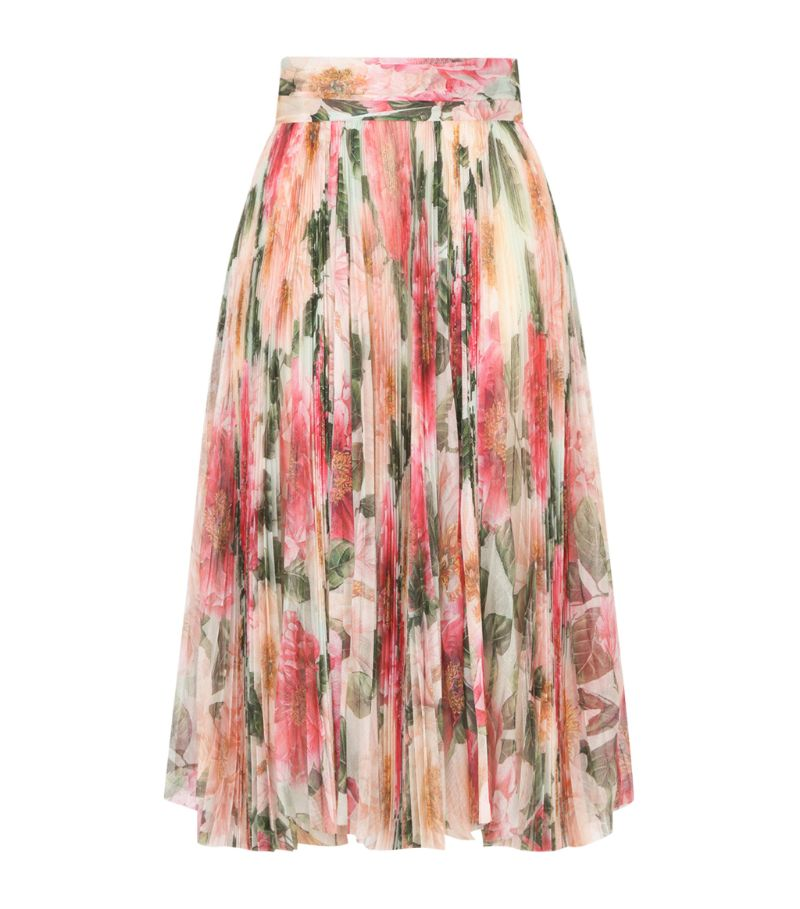 Dolce & Gabbana Silk Camellia Print Pleated Skirt