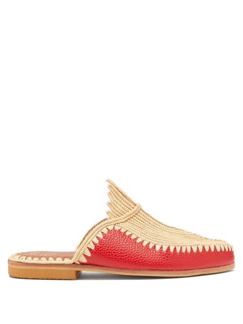 Kilometre Paris - Raffia And Leather Backless Loafers - Womens - Red