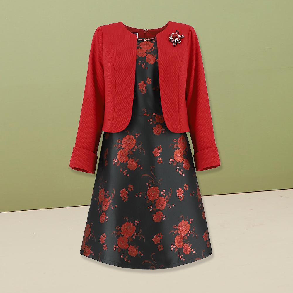 ILEY伊蕾 優雅花卉緹織假兩件洋裝(紅)954709