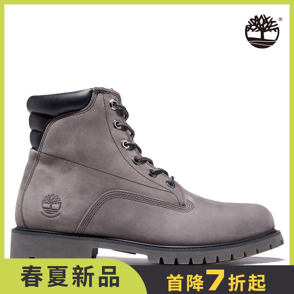 Timberland 男款中灰色磨砂革防水6吋靴|A2JCT033