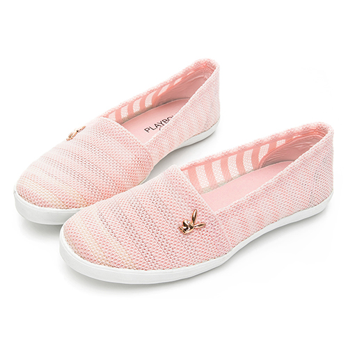 PLAYBOY 優雅步調 蕾絲風格懶人鞋-粉(Y6207)
