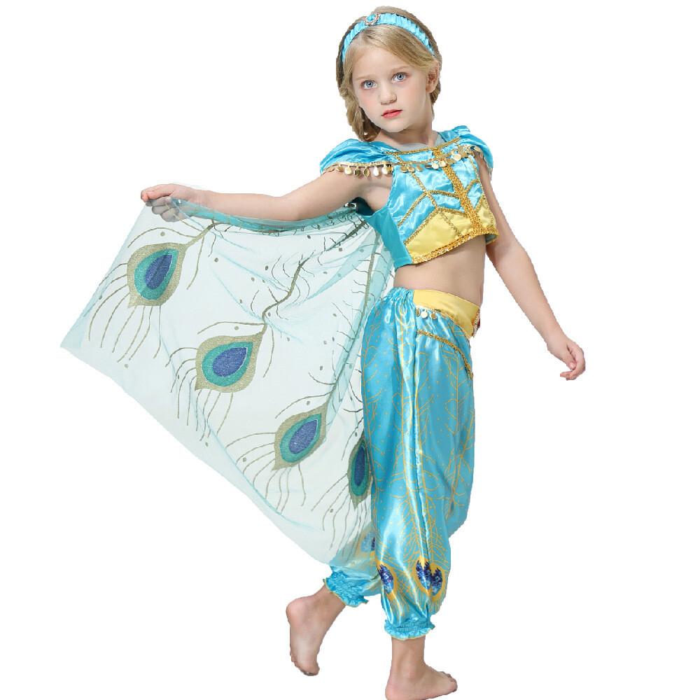 現貨送皇頭飾萬聖節 阿拉 神燈 茉公主 公主服裝 兒童禮服