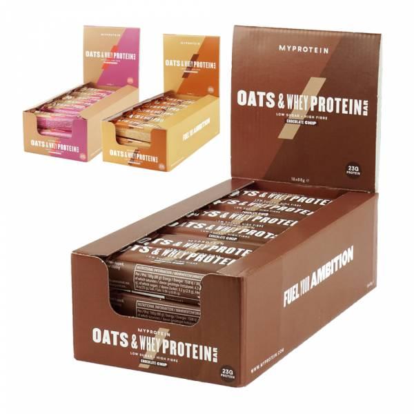 【英國Myprotein】燕麥乳清蛋白棒 盒裝/18入(巧克力脆片/巧克力花生/覆盆莓)