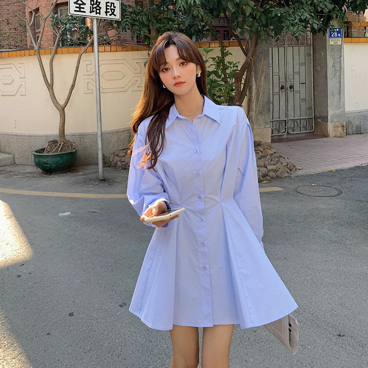 VIVILIAN韓式甜美單排扣減齡百褶收腰顯瘦襯衫小洋裝