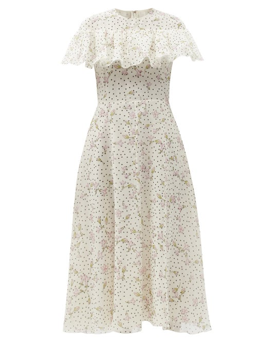 Giambattista Valli - Ruffled Floral-print Silk-georgette Dress - Womens - Beige Multi