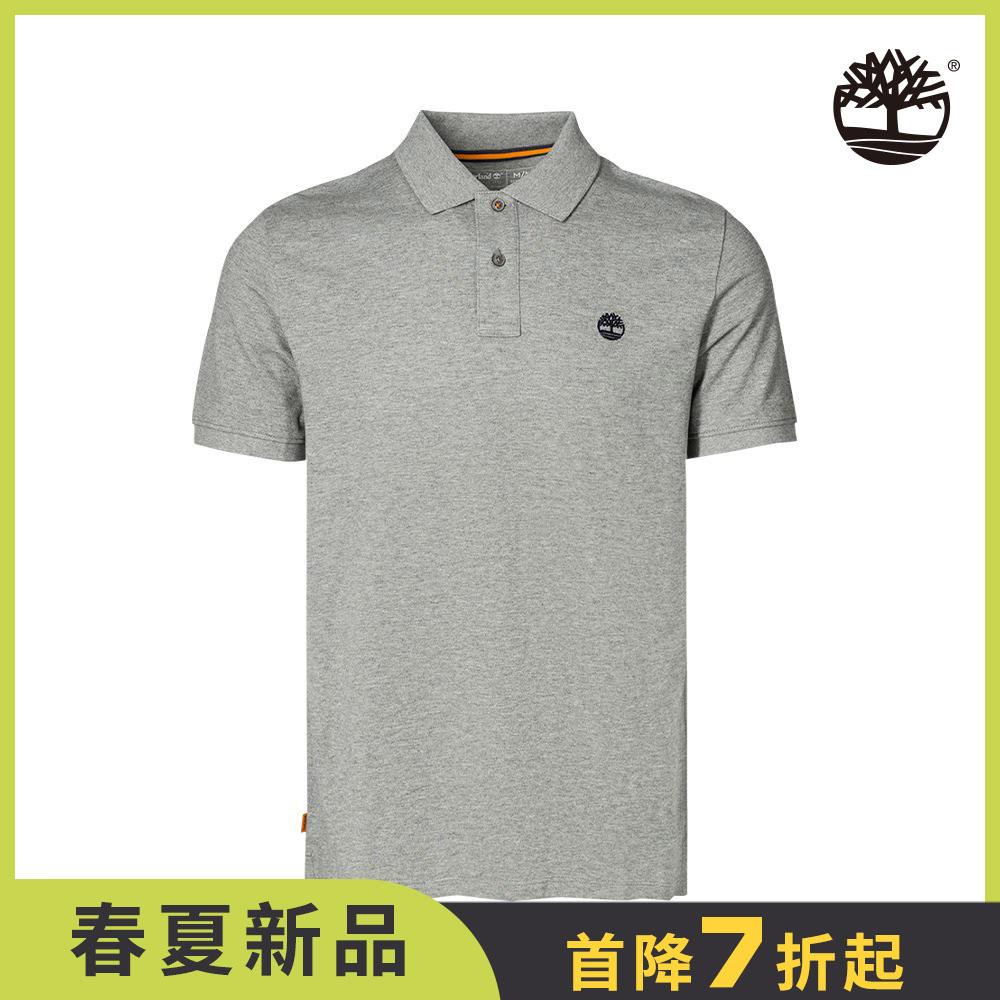 Timberland 男款中麻灰刺繡LOGO短袖POLO衫|A24H2052