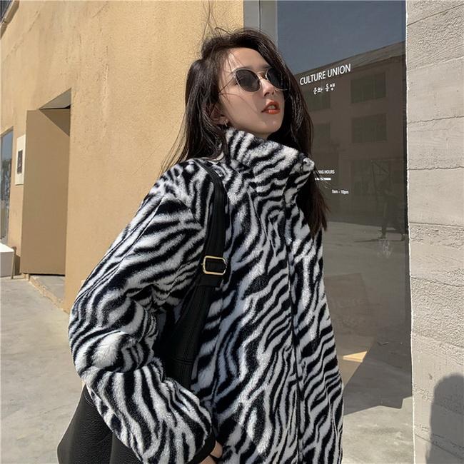 FOFU-加厚毛絨外套韓版寬鬆保暖上衣女【08SG04828】