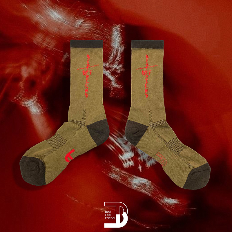 BEST FOOT FRIEND - BF210012-GN 字母十字架 BFF 中筒襪 / 小腿襪 (綠色)