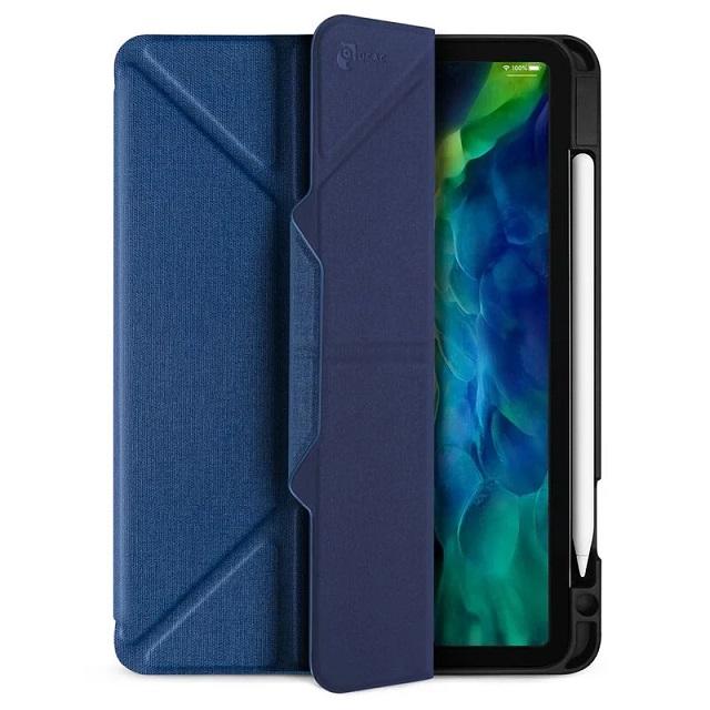 JTLEGEND iPad 2020 Amos 11吋 相機快取多角度折疊布紋皮套(含Apple pencil槽+磁扣) - 海軍藍
