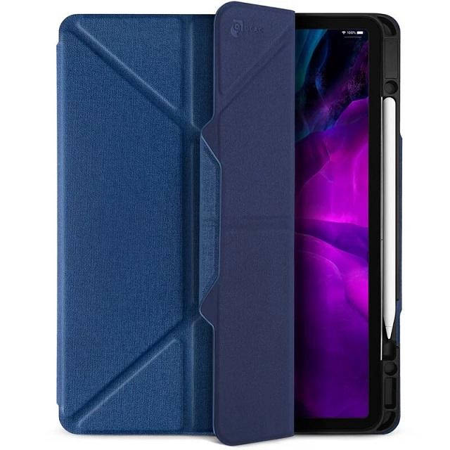 JTLEGEND iPad 2020 Amos 12.9吋 相機快取多角度折疊布紋皮套(含Apple pencil槽+磁扣) - 海軍藍