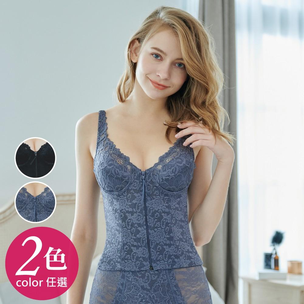 台灣製 卡莉絲 360丹 罩杯半身調整型前扣拉鍊式塑身衣 機能雕塑衣 平腹收腰 產後塑身衣 (B-C)-黑/藍灰#883