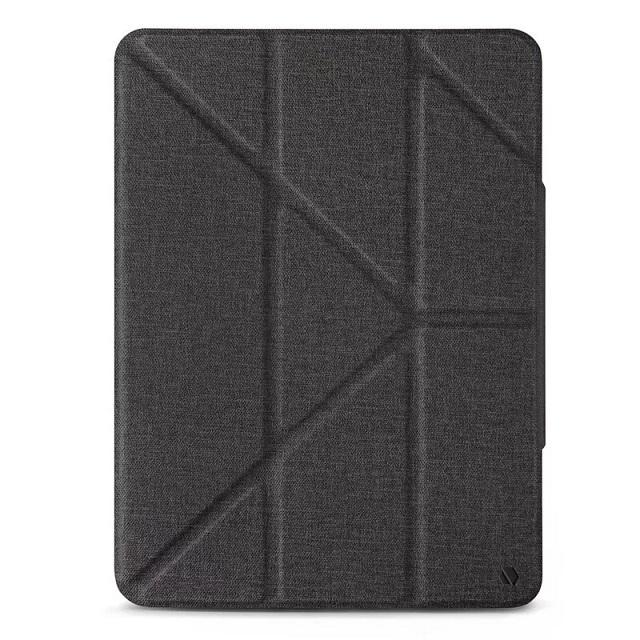JTLEGEND iPad Air 2020 Amos 10.9吋 相機快取多角度折疊布紋皮套(含Apple pencil磁扣) - 石墨黑