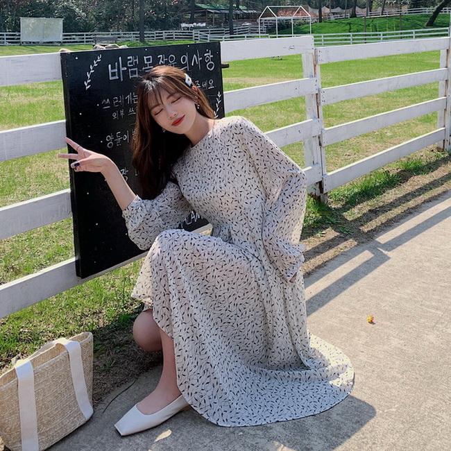 FOFU-韓版女裝圓領氣質顯瘦碎花收腰長袖雪紡連身裙【08SG04754】