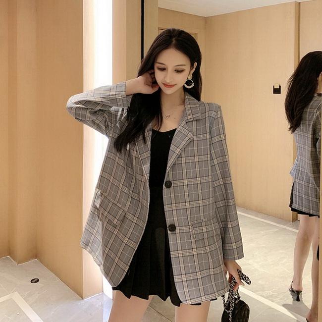 FOFU-韓版女裝單排扣修身格子小西裝外套【08SG04751】