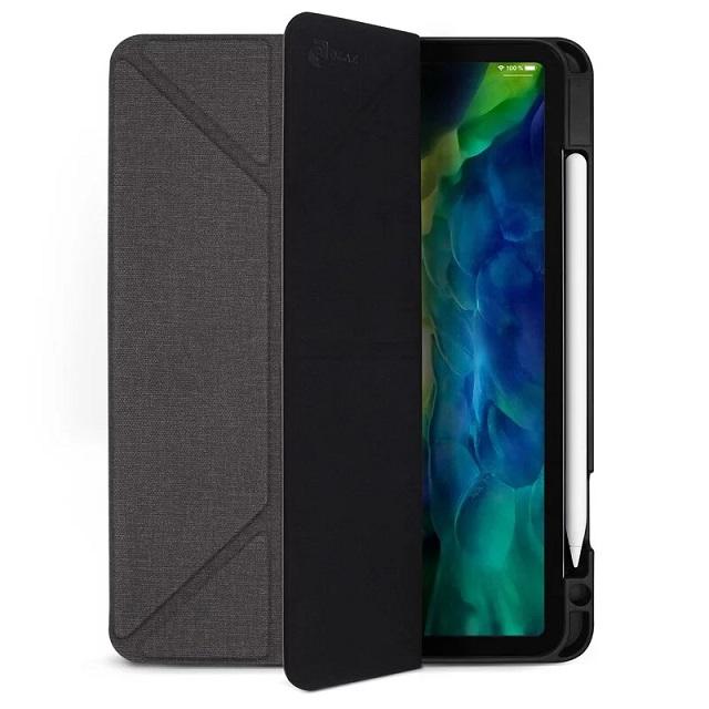 JTLEGEND iPad Pro 2020 Amos 11吋 相機快取多角度折疊布紋皮套(含Apple pencil槽) - 石墨黑