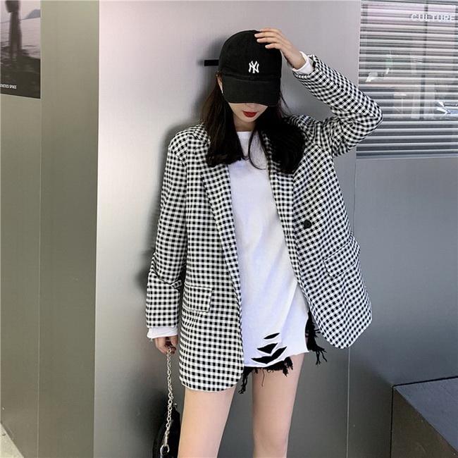 FOFU-黑白格西裝韓版寬鬆百搭翻領外套女潮【08SG04789】