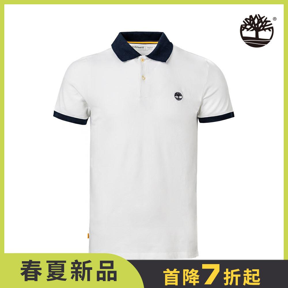 Timberland 男款白色米勒斯河彈性窄版短袖POLO衫|A2BSA100