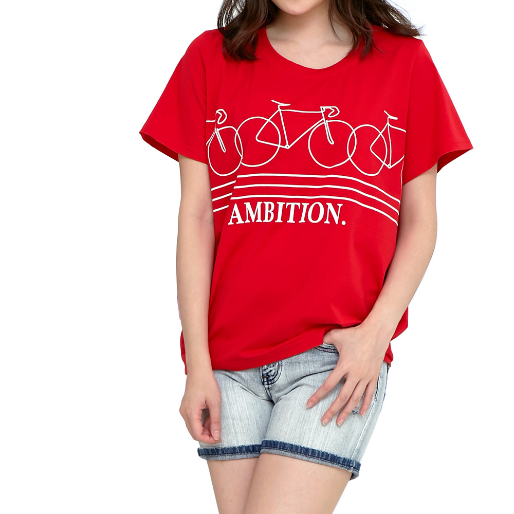 Jumase涼感棉 腳踏車印花上衣一紅 中大尺碼 (Z18037921)短袖T恤