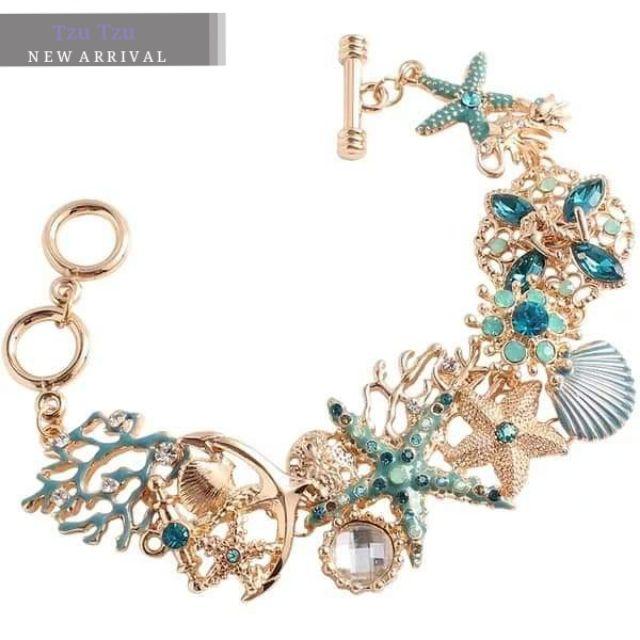 歐美 專櫃品質 超亮眼浮誇 海洋風 水藍色鑲鑽 金色寬版手鍊 海星 海洋 珊瑚 華麗 寶石 金色手鍊 超亮眼