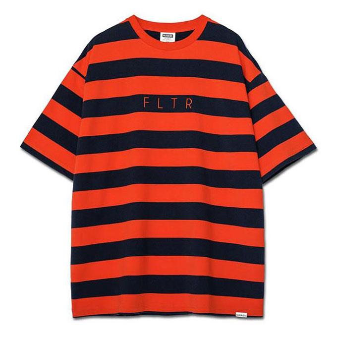 Filter017 - FLTR Striped Tee FLTR 刺繡寬版落肩條紋 短T (藏青/橘)