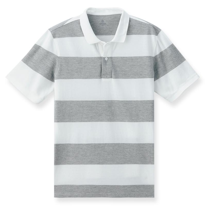 條紋短袖POLO衫(銀灰色)-男