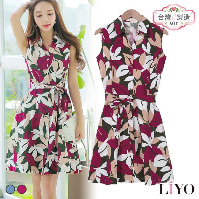 洋裝-LIYO理優-花朵綁腰V領洋裝-E726011-此商品零碼不可退換貨