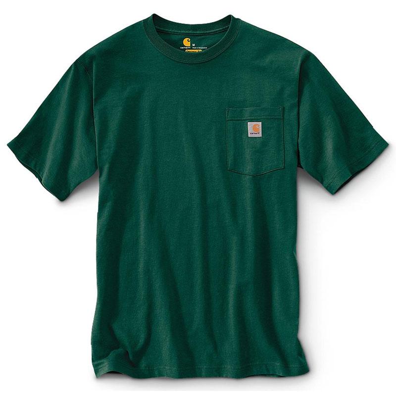 CARHARTT - K87 HTG 美線 Pocket Tee 口袋 短T 素T (HTG 森林綠)