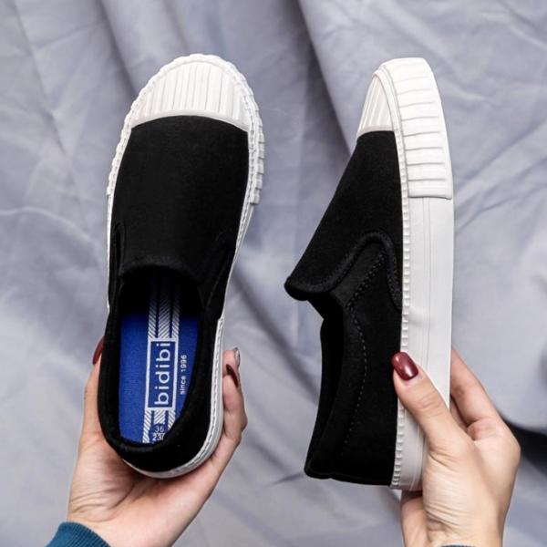 懶人鞋.簡約百搭拼接餅乾厚底休閒鞋.白鳥麗子