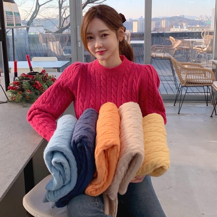 【限量現貨出清】韓國製.保暖百搭純色復古公主袖麻花長袖毛衣.白鳥麗子 出清