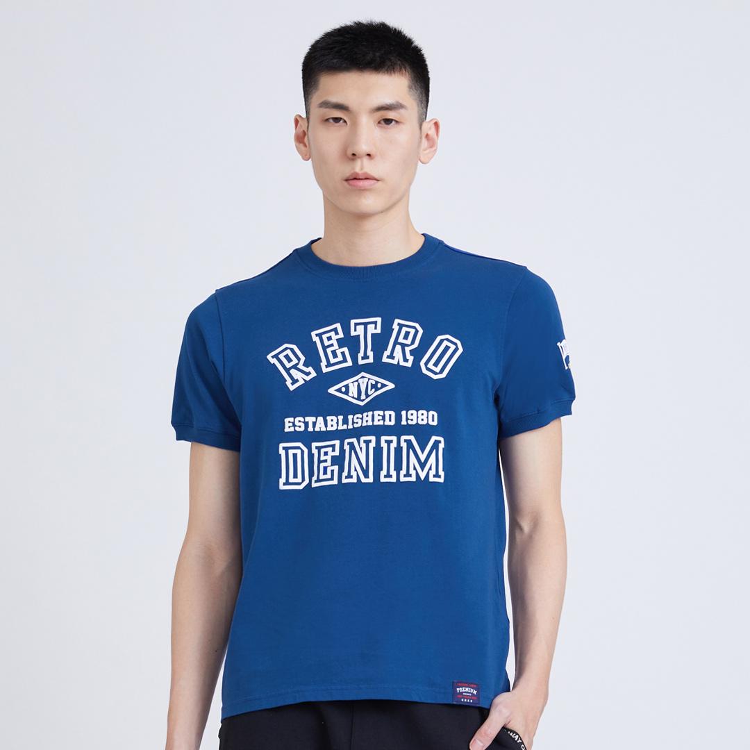美式印花T(藍色)-男
