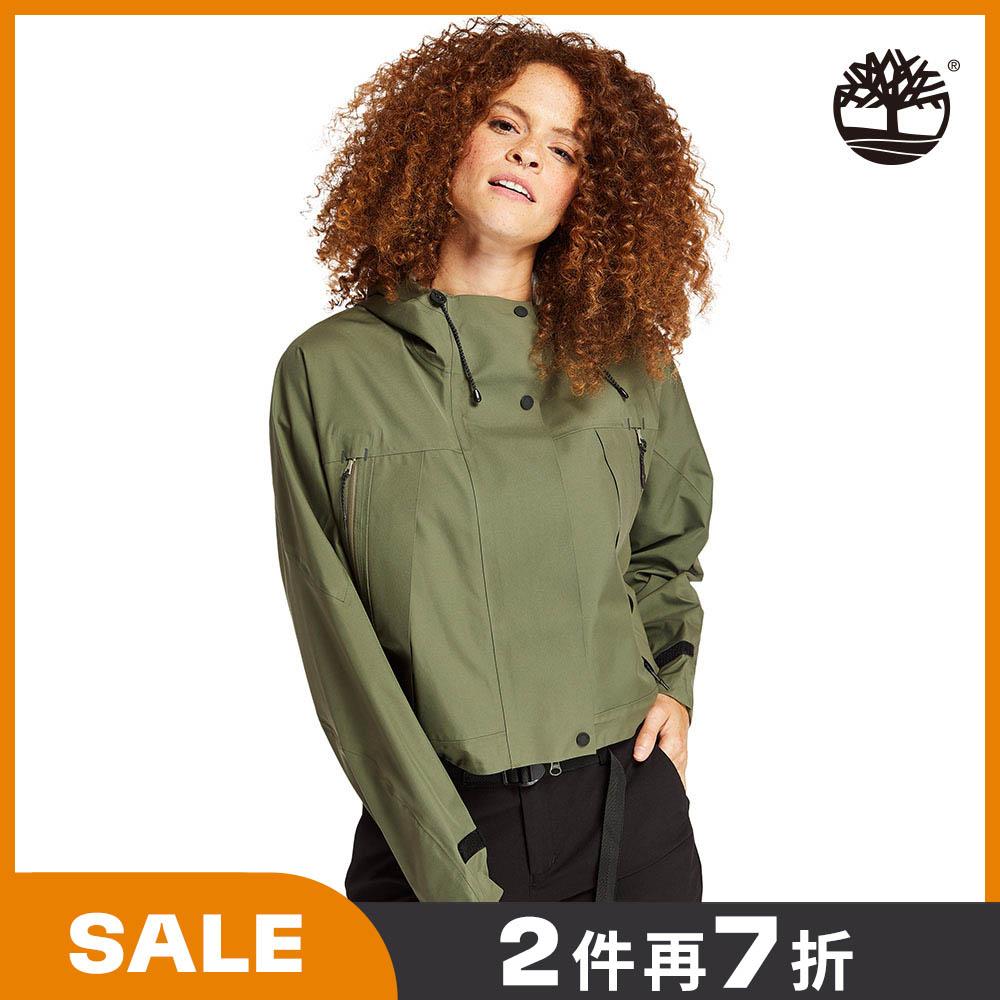 Timberland 女款葡萄葉綠寬鬆短版連帽派克大衣|B5104A58