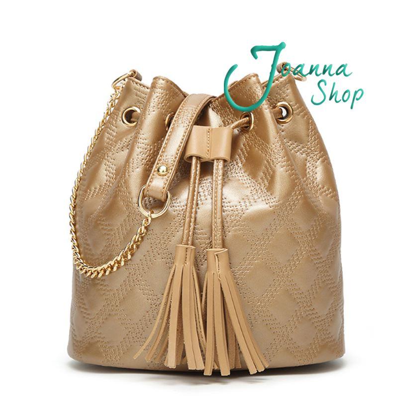 名模印壓編織紋流蘇簡約時尚水桶包手提斜背1-Joanna Shop