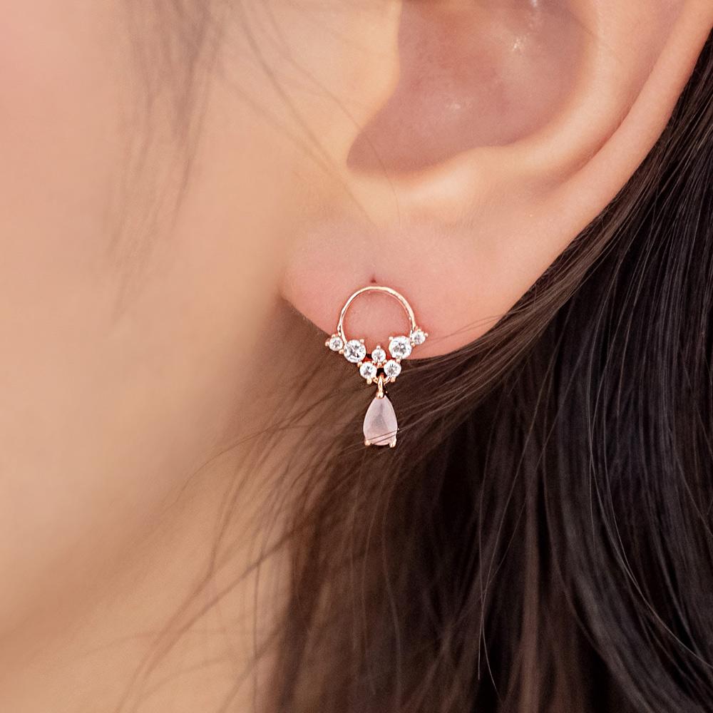 粉晶小花圈四件組925銀針耳環-A10255