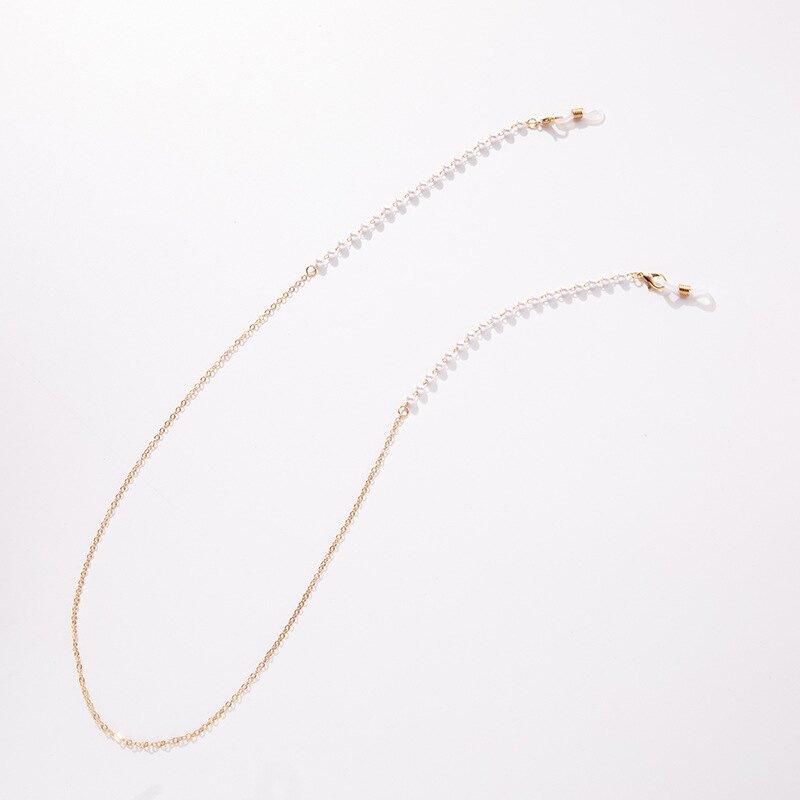 簡約時尚珍珠水晶金屬珠鏈多功能掛鏈(1組2條)