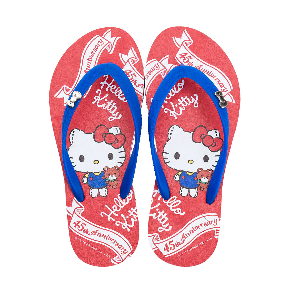 HELLO KITTY艾樂跑女鞋-45周年主題 夾腳拖鞋-紅 (919123)