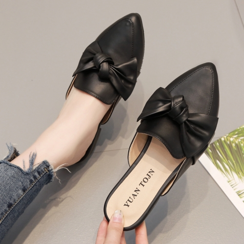 穆勒鞋.MIT氣質尖頭素色蝴蝶結拖鞋.白鳥麗子