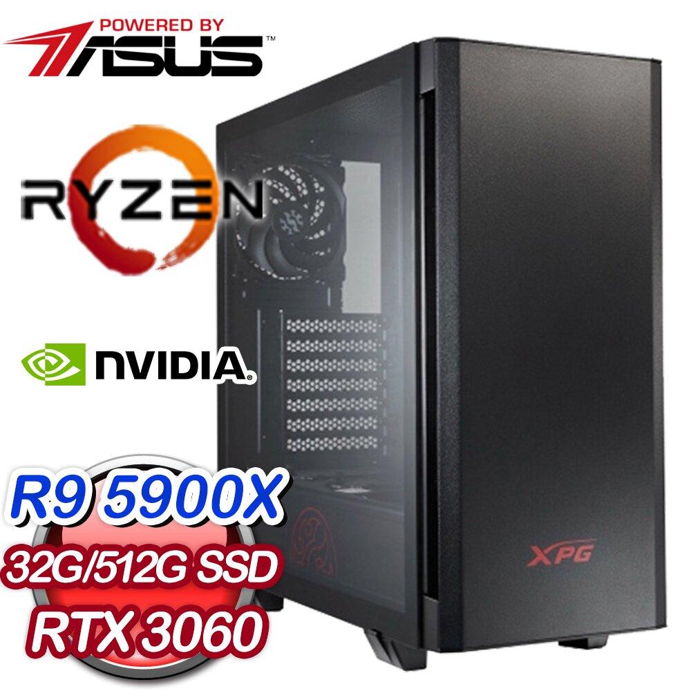 華碩系列【蜜香鳳梨】AMD R9 5900X十二核 RTX3060 電競電腦(32G/512G SSD)