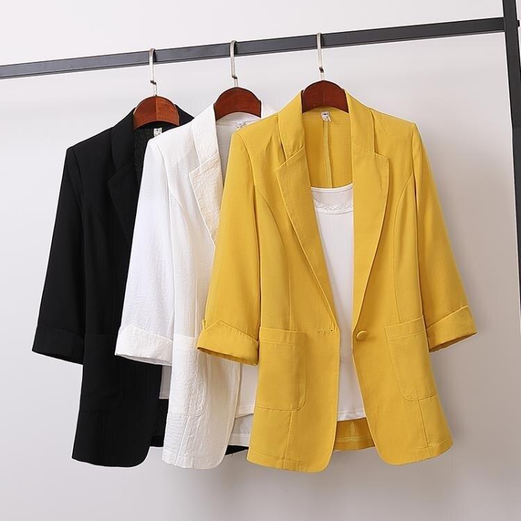 西裝外套 韓版棉麻中長款大碼西裝外套韓版寬鬆休閒時尚小西服女裝秋裝 -盛行華爾街