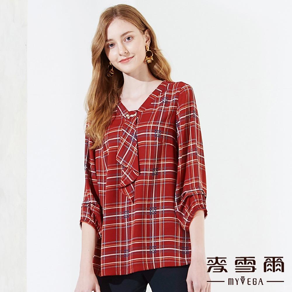 【麥雪爾】紅色英式格紋V領七分袖-紅