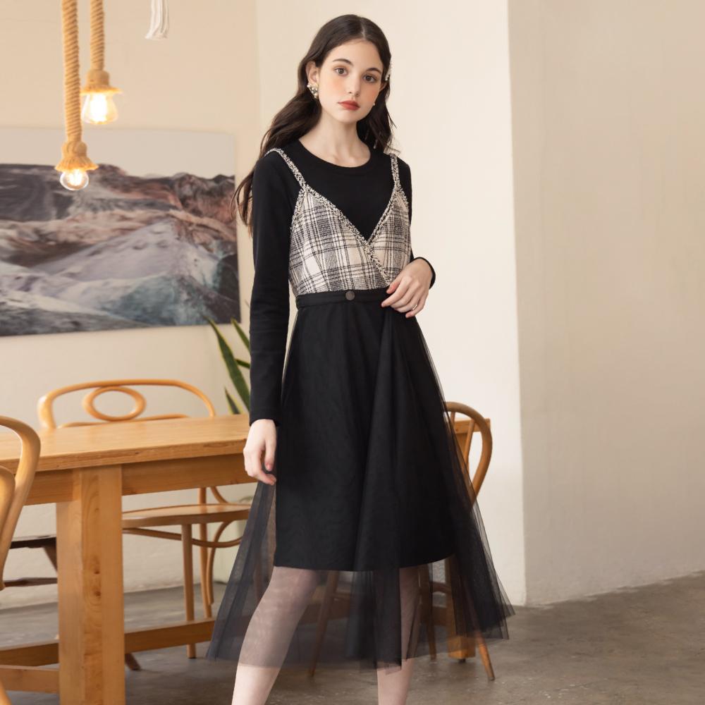 niceioi兩件式小香風吊帶網紗洋裝