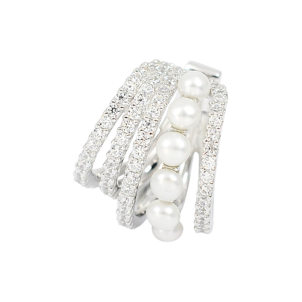 apm MONACO法國精品珠寶 閃耀鑲鋯珍珠銀色五環單邊耳骨夾 AE11628XPL