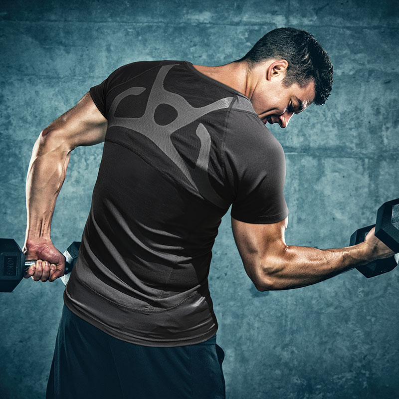 BodyVine 「挺」舒適運動壓縮短袖上衣(背部姿勢穩固)-男