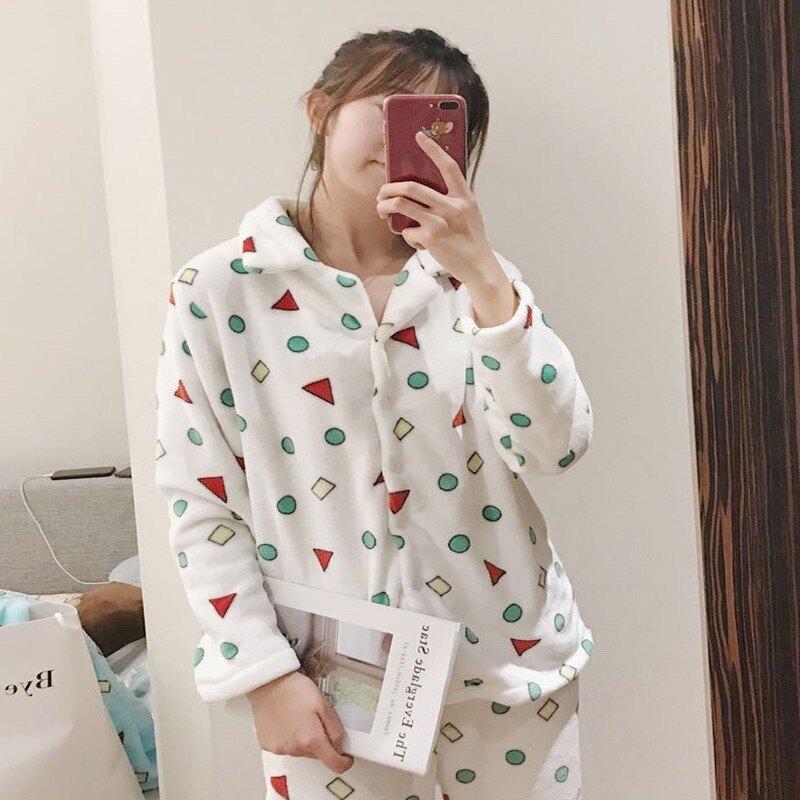 瑪姬主義蠟筆小新同款睡衣超柔軟保暖法蘭絨INS火紅爆款韓國冬季新款韓版長袖三件套裝休閒服居家服