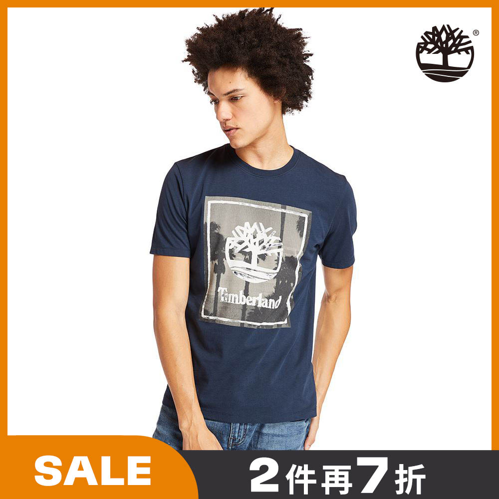 Timberland 男款深寶石藍海灘印花有機棉短袖圓頂T恤|A2B37433