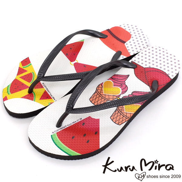 3/1-3/31雨天防禦術限時單一價↘Kuru Mira-MIT療癒系比基尼夾腳海灘拖鞋-白