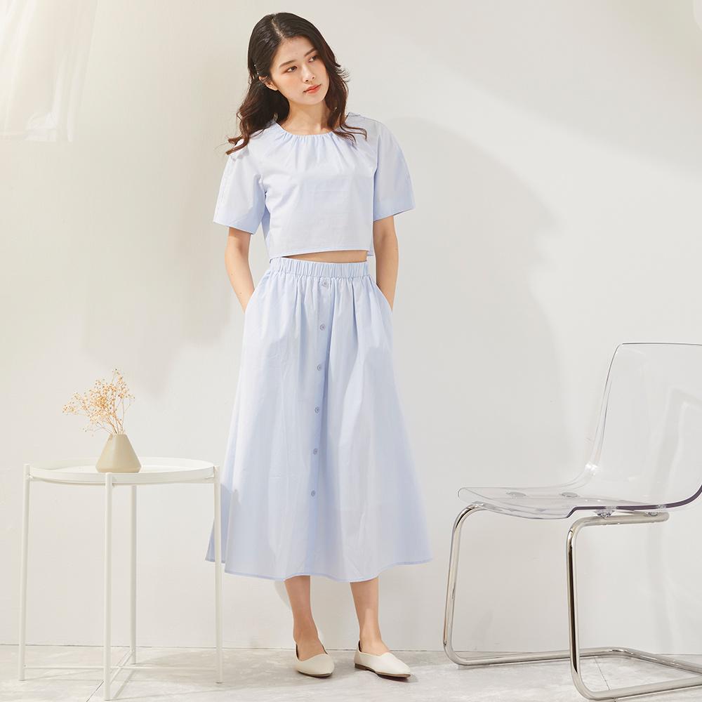 The Madre  短版圓領上衣+排扣鬆緊裙套裝【三色】