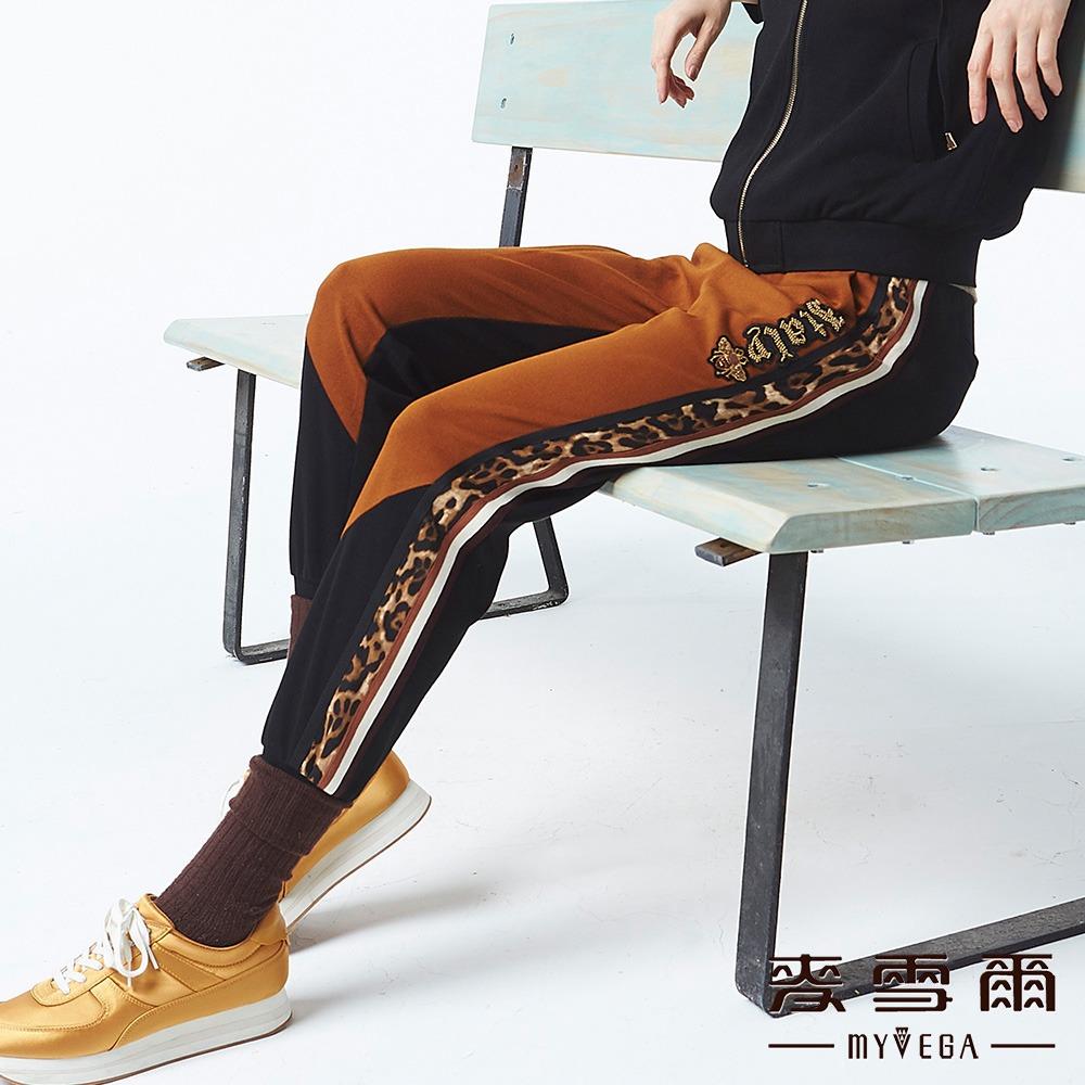 【麥雪爾】拼接豹紋連帽休閒褲-咖啡