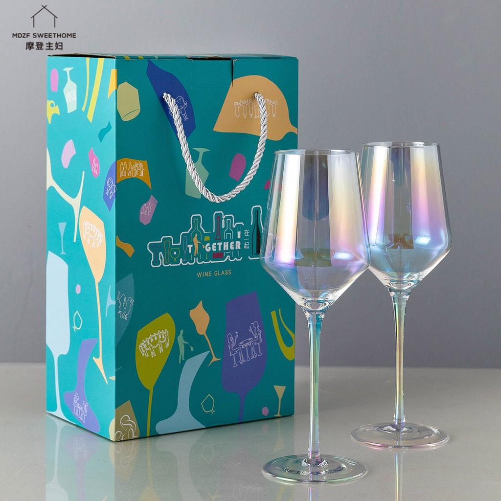 蘑登主婦 歐式創意紅酒杯 家用葡掏酒惺酒器 水晶高腳杯 6只酒具套裝