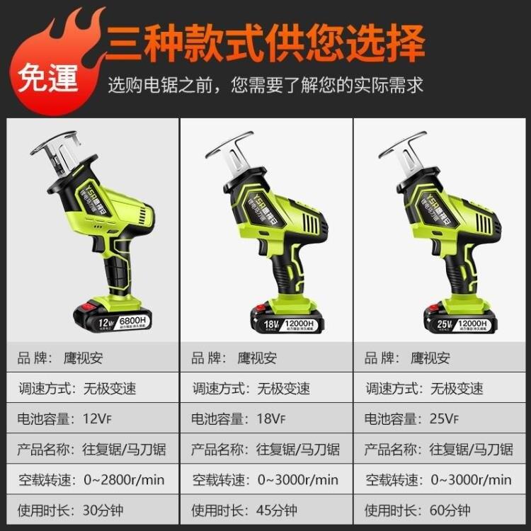 鷹視安鋰電充電式往復鋸電動馬刀鋸多功能家用小型戶外手持電鋸 mks