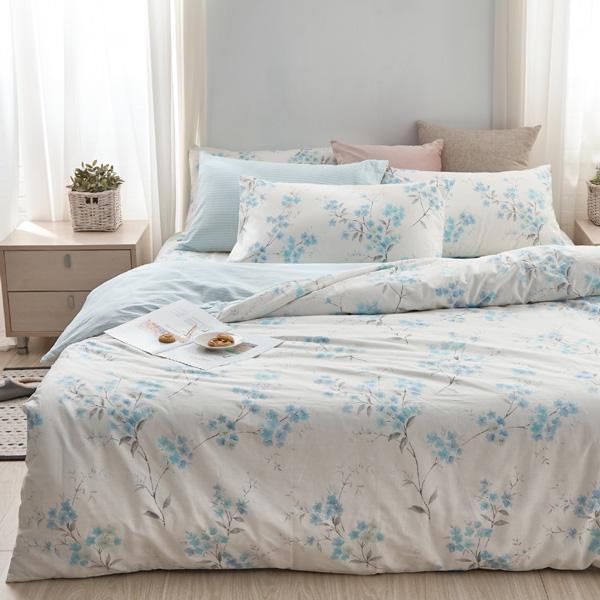 床包被套組(鋪棉兩用被套)-雙人/200織/ 精梳棉四件式 / 幕間如煙 台灣製